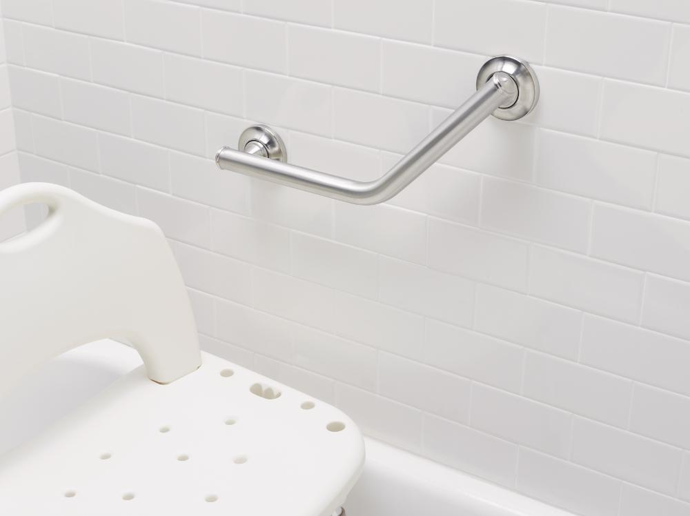 Moen 8994 24 inch by 36 inch l shaped bathroom - Grab bars for toilet in bathrooms ...
