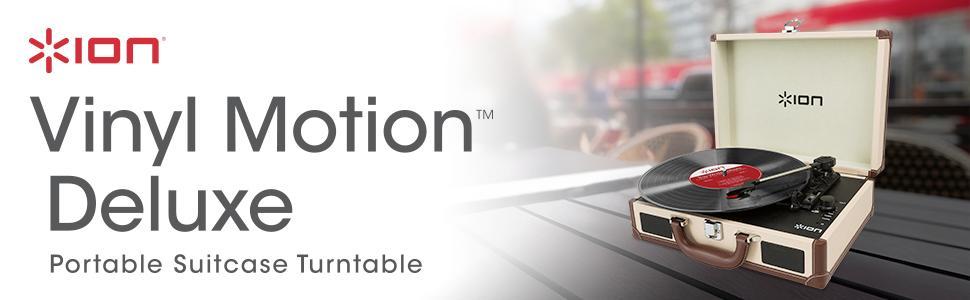 Ion Audio Vinyl Motion Deluxe 3-Speed Belt Drive Suitcase Turntable
