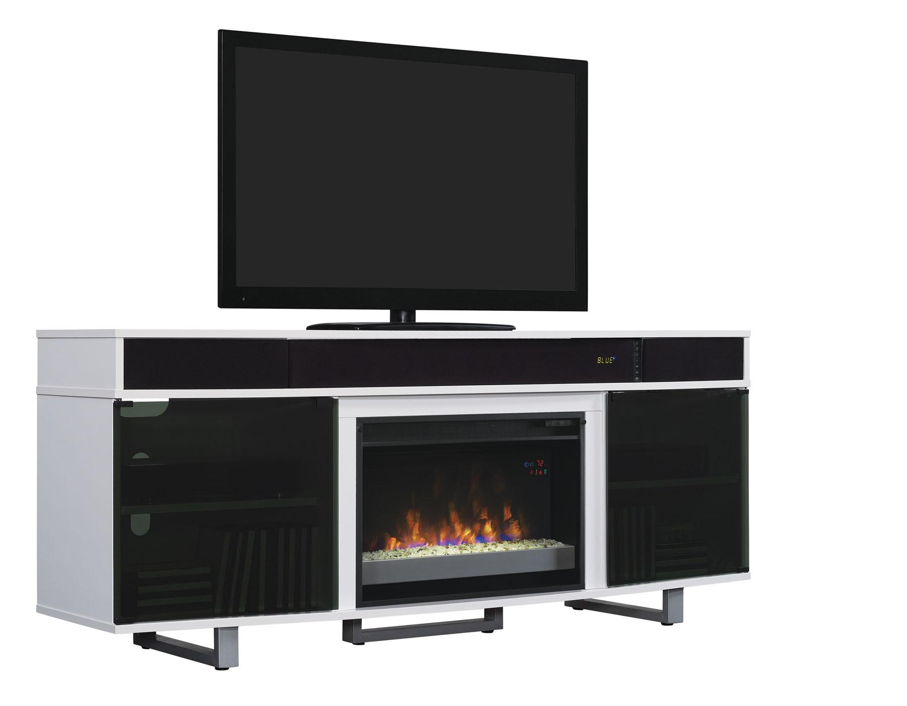 White tv stand with electric fireplace - From The Manufacturer
