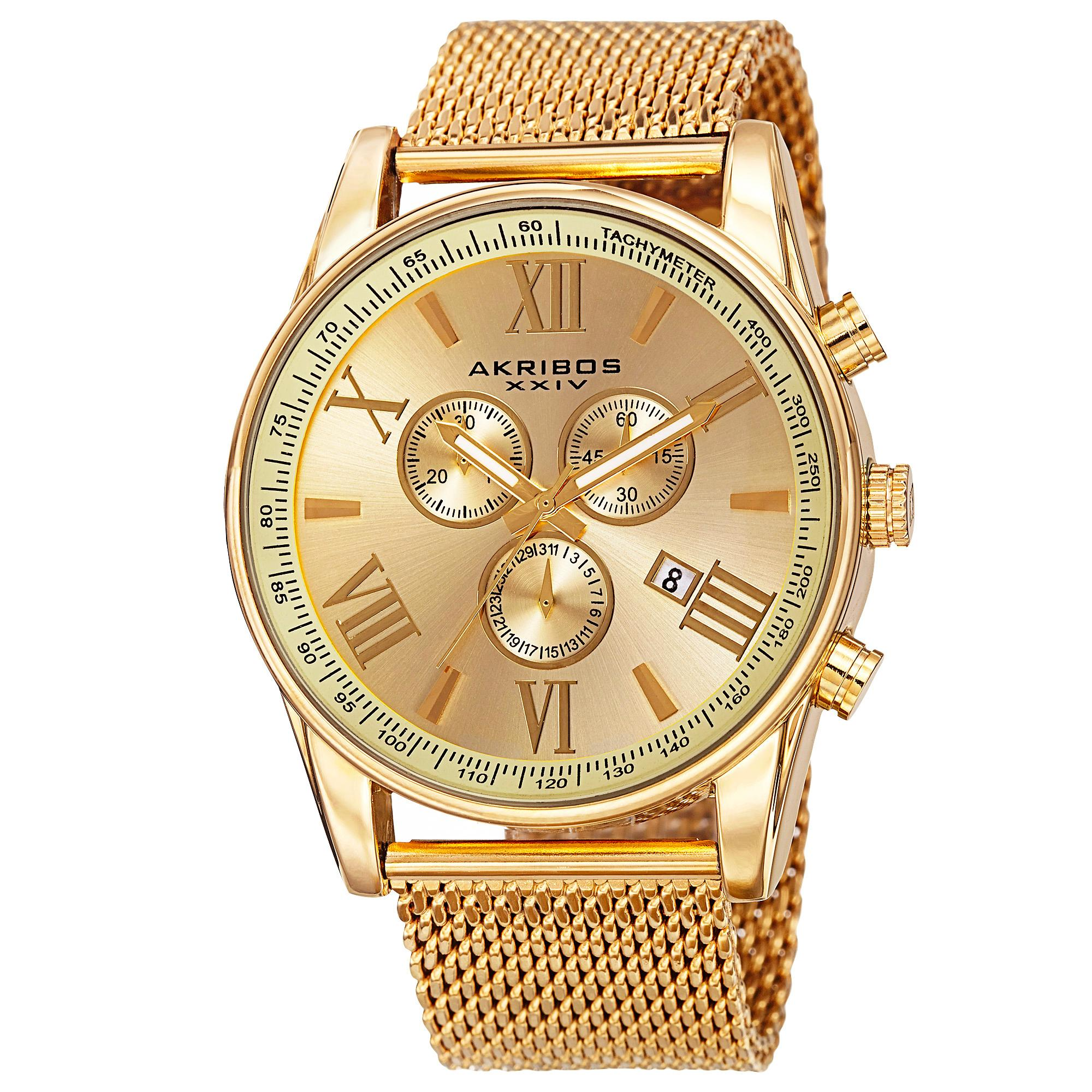 akribos xxiv men 39 s ak813yg round yellow gold radiant sunburst dial chronograph