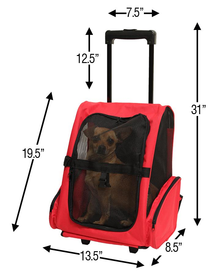 amazon com   oxgord rolling backpack travel pet carrier