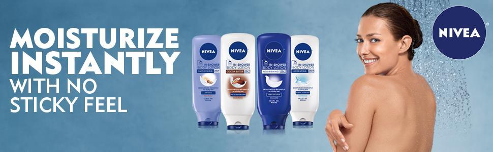 NIVEA In-Shower Body Lotion Wet Skin Moisturizer Moisturize Instantly No Non Sticky Feel