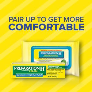 preph, preparation h, treating hemorrhoids, get comfortable, hemorrhoid pain, itching, burning