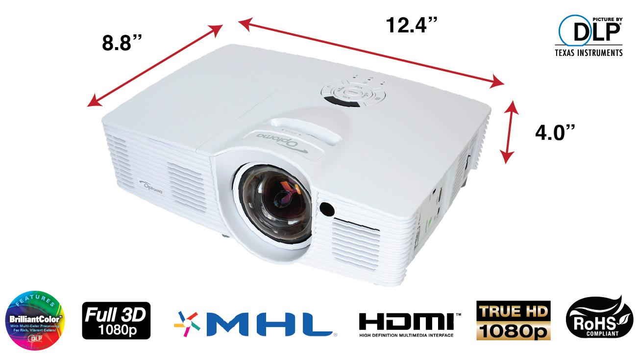 Optoma gt1080 1080p 3d dlp gaming projector gt1080 buy for Compare micro projectors