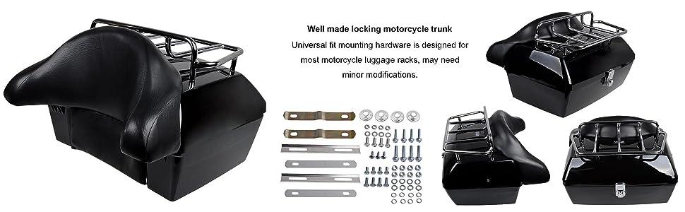 Amazon.com: Maletero para moto con portaequipaje y respaldo ...