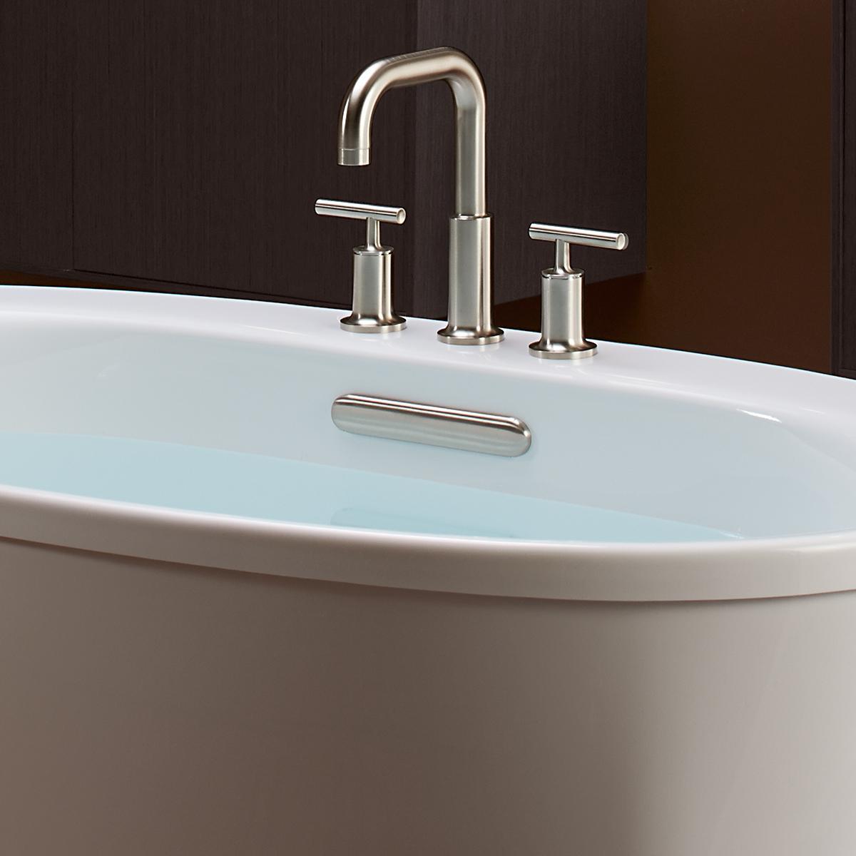 KOHLER K-5713-0 Underscore Oval Drop-In Bath with Center Drain, 60 x ...