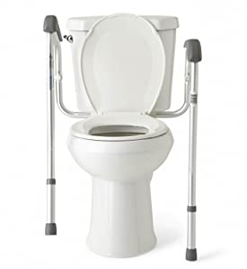 legs are height adjustable from 26 31 inches from the floor the legs also lift up to easily clean the floor around the toilet