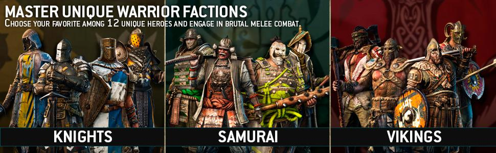 warrior factions; melee; knights; samurai; vikings