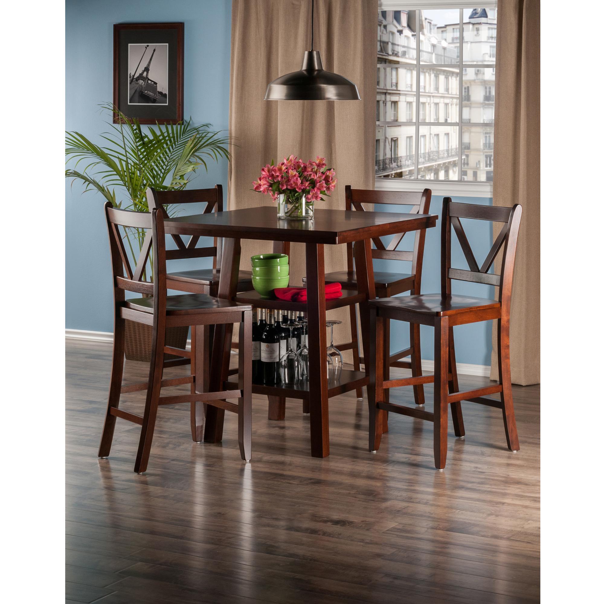 Elegant Orlando 5 Pc Set High Table, 2 Shelves W/ 4 V Back Counter Stools