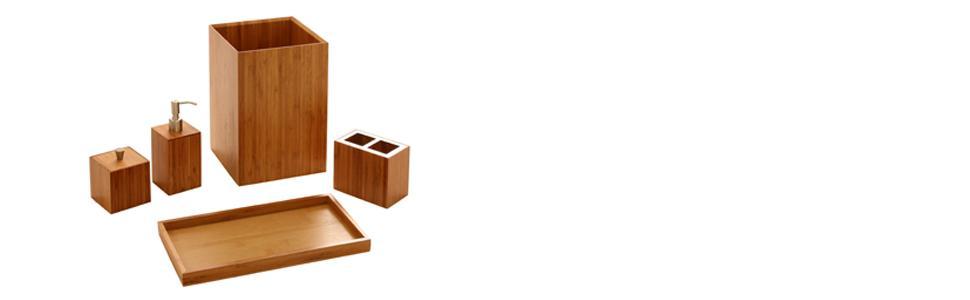 Amazon.com: Seville Classics Bamboo Bath and Vanity Set, 5 pcs ...