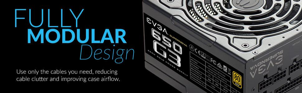 EVGA SuperNOVA 650 G3, 80 Plus Gold 650W, Fully Modular, Eco Mode with New  HDB Fan, 7 Year Warranty, Includes Power ON Self Tester, Compact 150mm