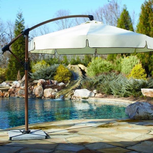 Panama Jack Outdoor Island Breeze Cantilever Umbrella with Stone Bases,  10-Foot Diameter