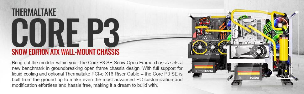 Core P3 atx mid tower computer case cases, water cooling system, cpu cooler, aio cooler, led fan