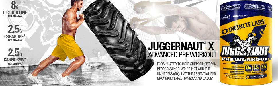 pre workout, juggernaut, juggernaut x, supplement, sports nutrition, infinite labs, energy drink