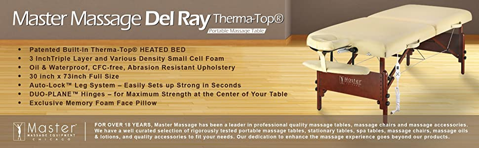 Master Massage Tables Del Ray Therma Top Package With Deluxe Accessories
