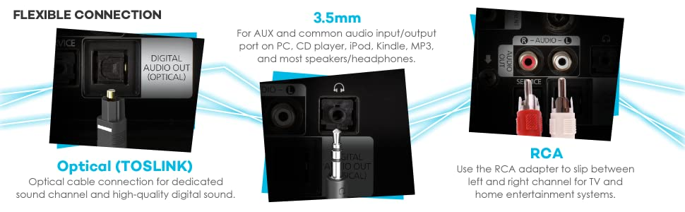 the latest Bluetooth 4.1 technology, dual connector, many handy features portable high-definition