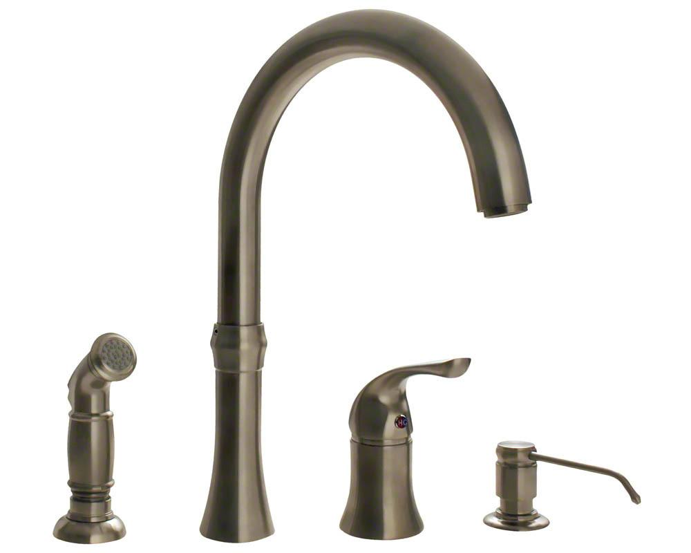 710-BN Brushed Nickel 4 Hole Kitchen Faucet - Touch On Kitchen Sink