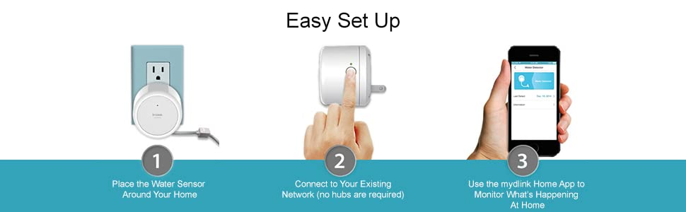 Easy Setup. Place the Water Sensor Around Your Home. Connect to Your Existing Network (no hubs are r