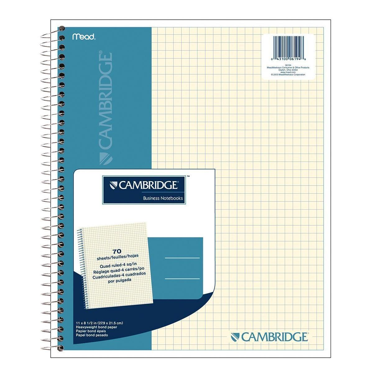 Amazon.com : Cambridge Quad Wirebound Notebook 70ct (06194 ...