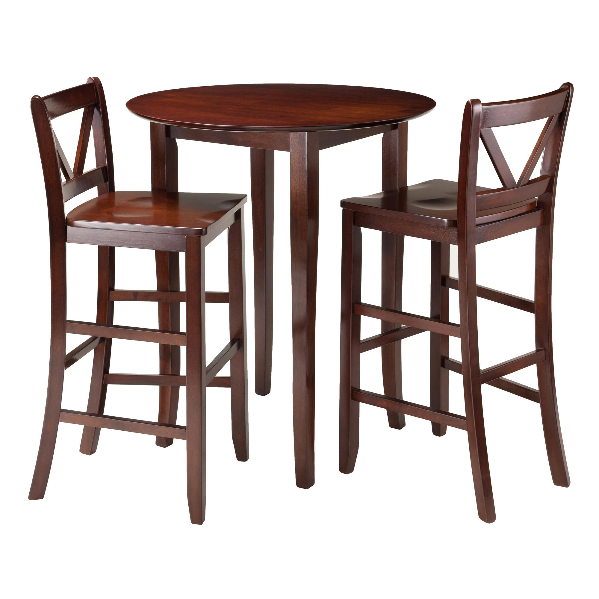 Fiona 3 Pc High Round Table With 2 Bar V Back Stool