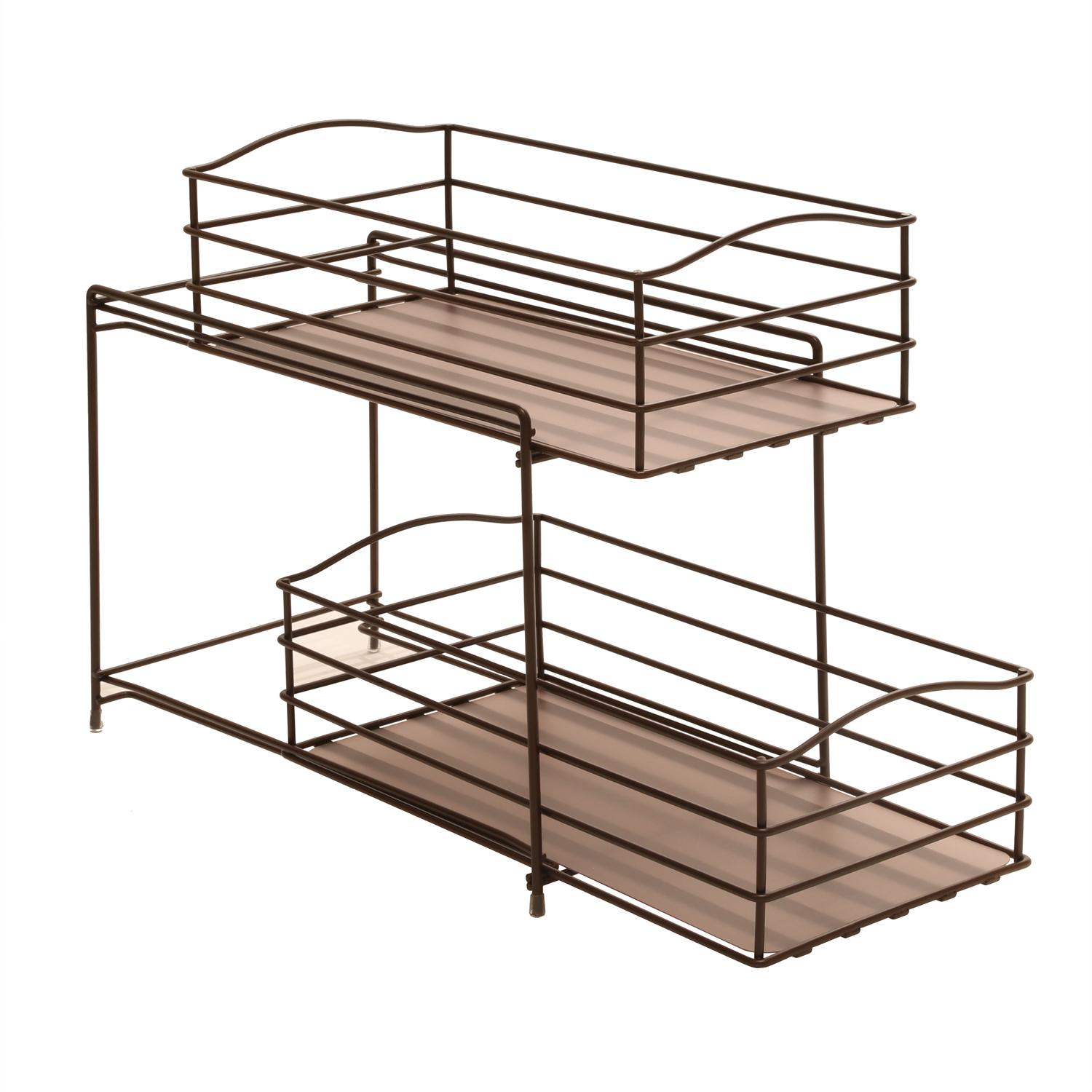 seville classics 2 tier sliding basket kitchen cabinet organizer bronze home kitchen. Black Bedroom Furniture Sets. Home Design Ideas
