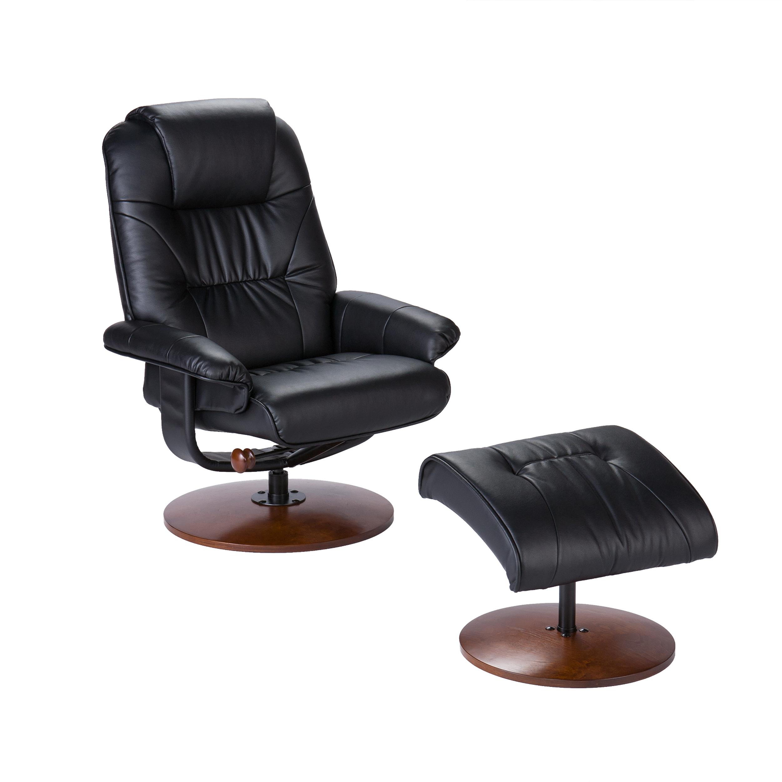 amazoncom bonded leather recliner and ottoman  black kitchen  - view larger