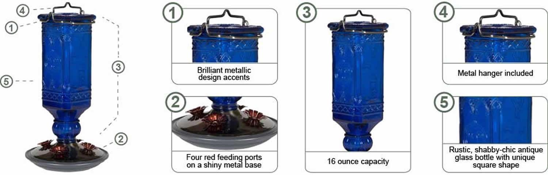 Amazon Com Perky Pet 8117 2 Cobalt Blue Antique Bottle