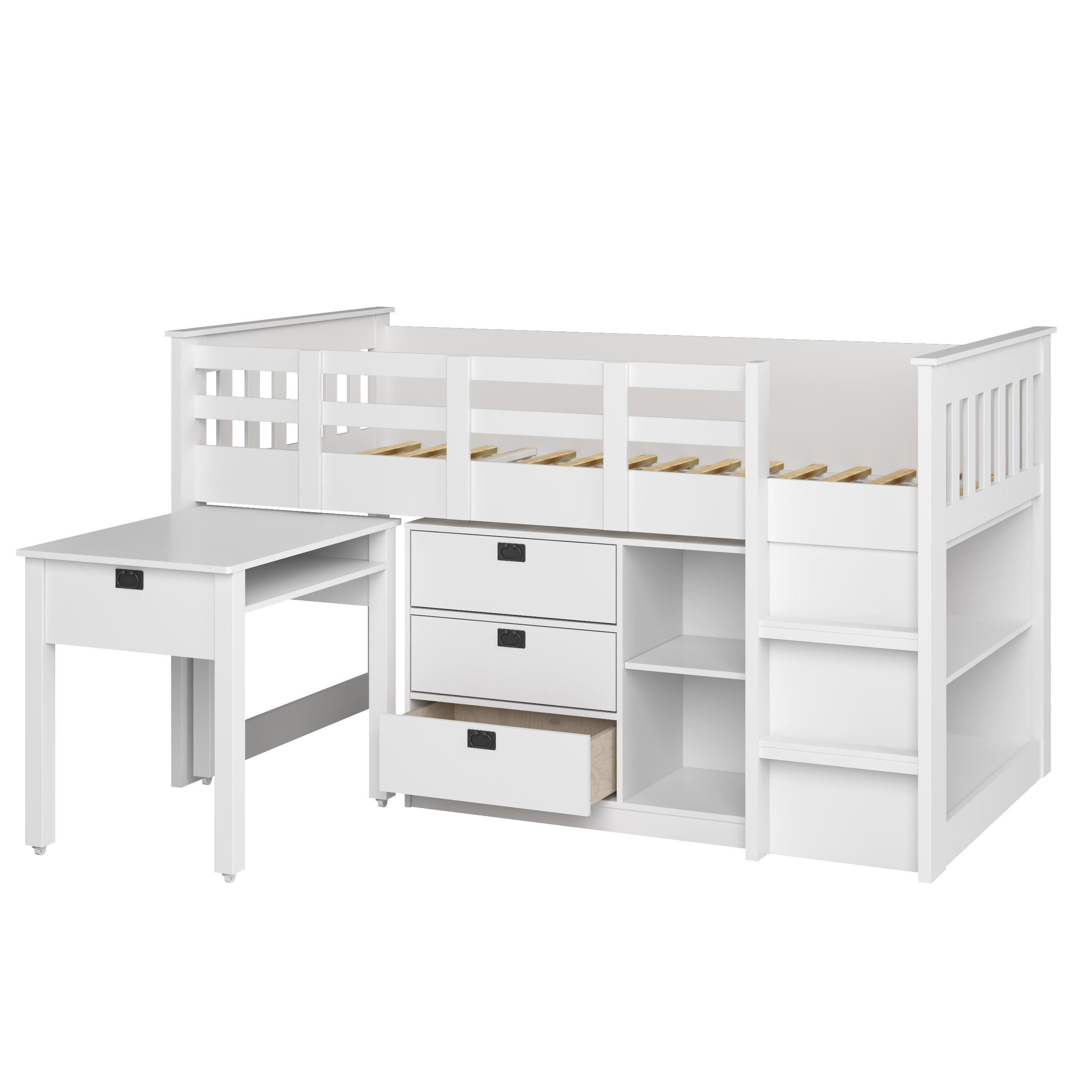 Corliving Bmg 370 B Madison Loft Bed With Desk And Storage Single Twin Rich