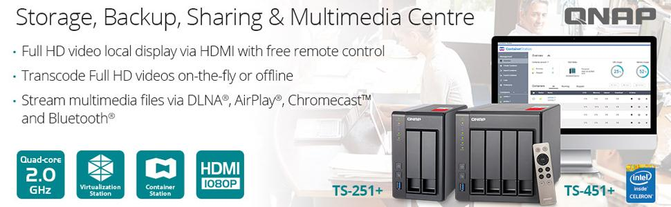 Qnap TS-451+-8G-US 4-Bay Next Gen Personal Cloud NAS Intel 2 0GHz Quad-Core  CPU with Media Transcoding