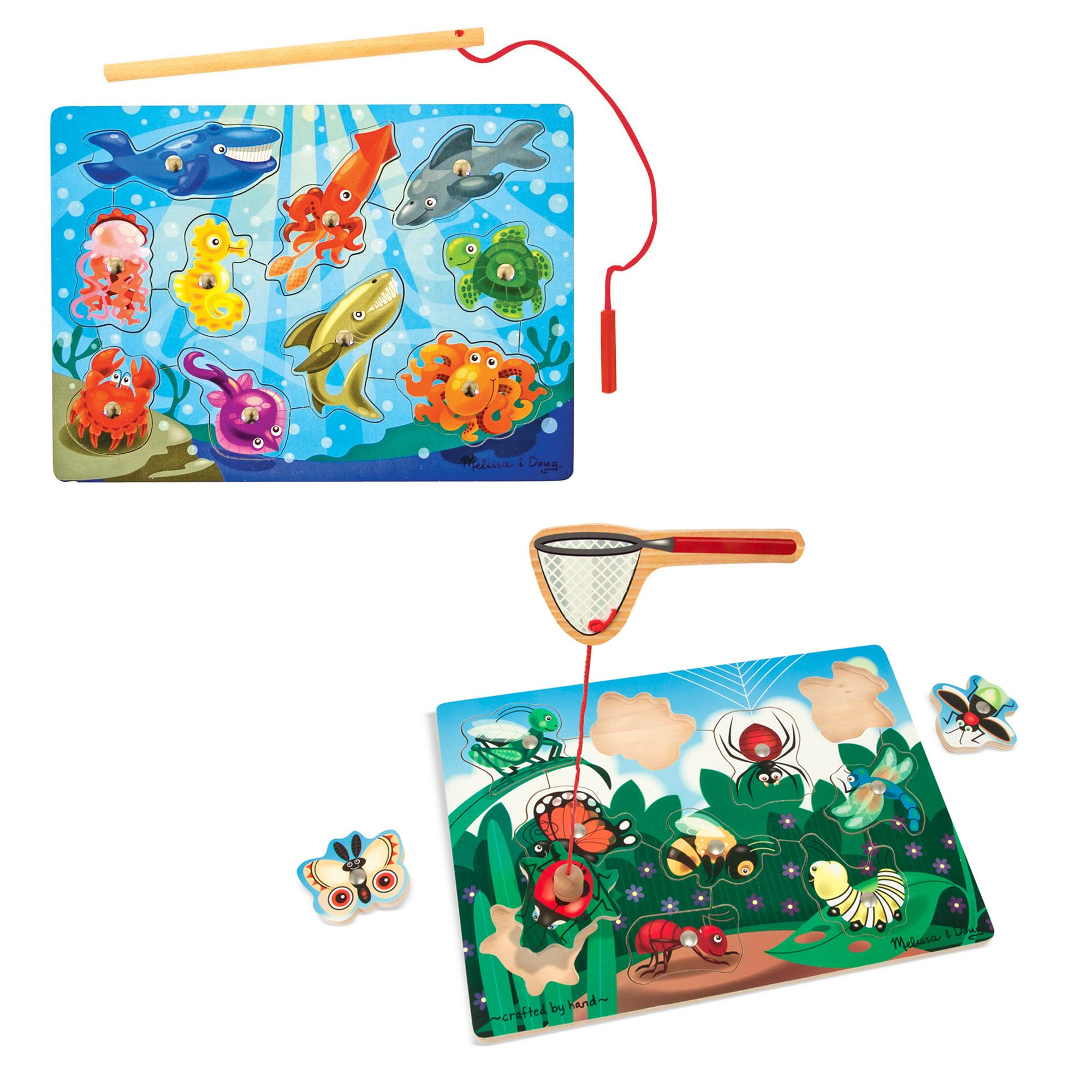 amazon com melissa u0026 doug magnetic wooden fishing game and puzzle