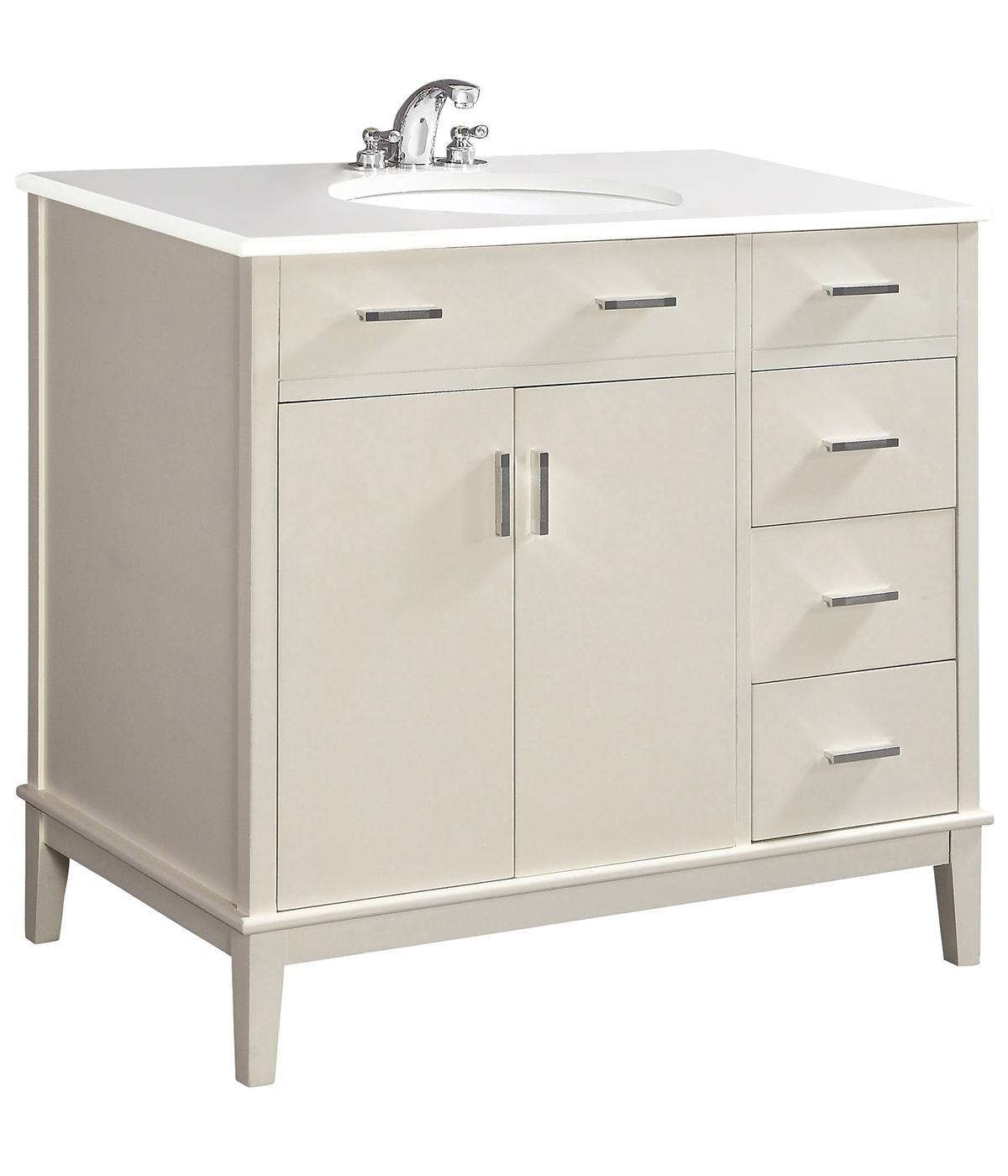 "Contemporary Urban Bath Vanity Light: Simpli Home Urban Loft 36"" Bath Vanity With Quartz Marble Top, Soft White"
