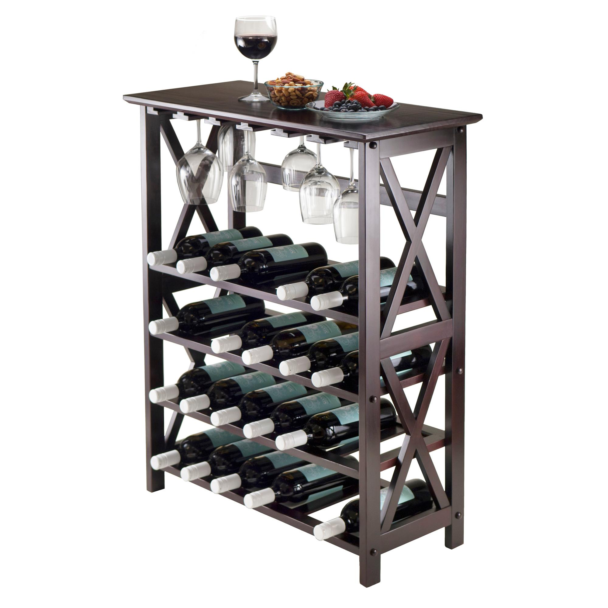 Amazon Winsome Wood Rio Wine Rack 24 Bottle Glass Hanger