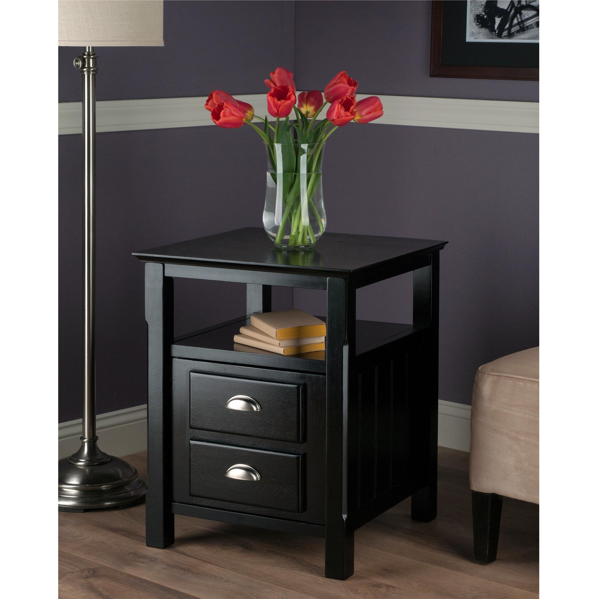 Nightstand Amazoncom Winsome Solid Wood 2 Drawer Timber Night Stand Black
