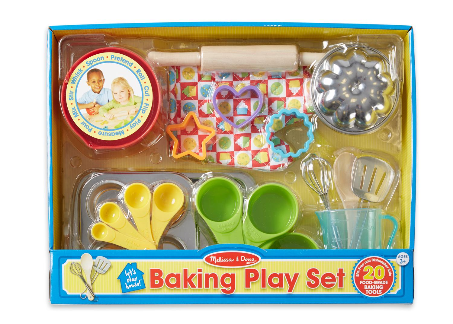 Melissa doug baking play set 20 pcs play for Kitchen set games