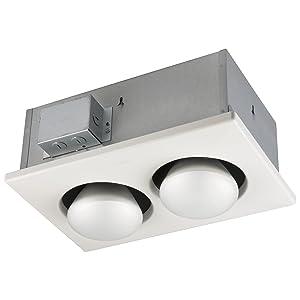 BROAN 163 Type IC Infrared Two-Bulb Ceiling Heater, 500-Watt