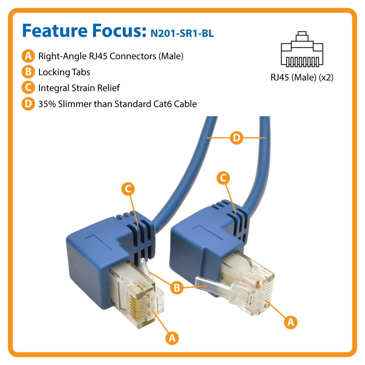 Tripp Lite Cat6 Gigabit Snagless Molded Slim Utp Patch Rj45 House Wiring No Snag Right Angle Connectors And Design