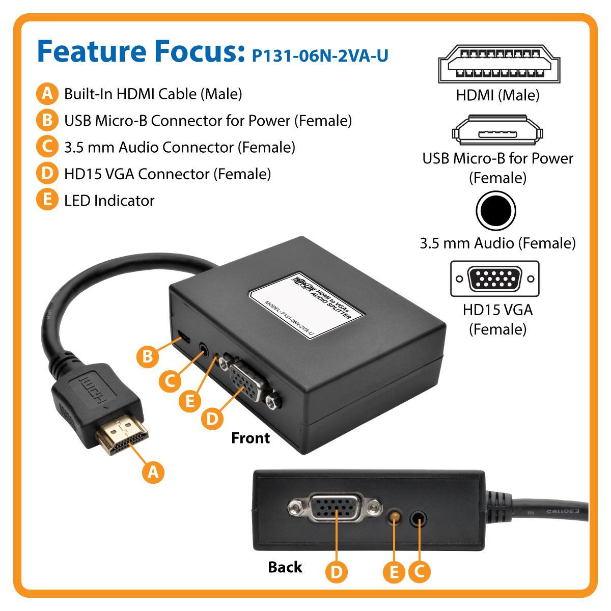 Tripp Lite 2 Port Hdmi To Vga Splitter M 2f Audio Three Channel Taa Compliant And Year Warranty