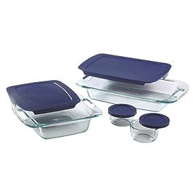 pyrex; bakeware; glassware; glass bakeware; easy grab; bakeware sets;