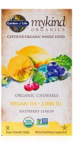 mykind organics vegan D3 chewable raspberry lemon whole food dietary supplement