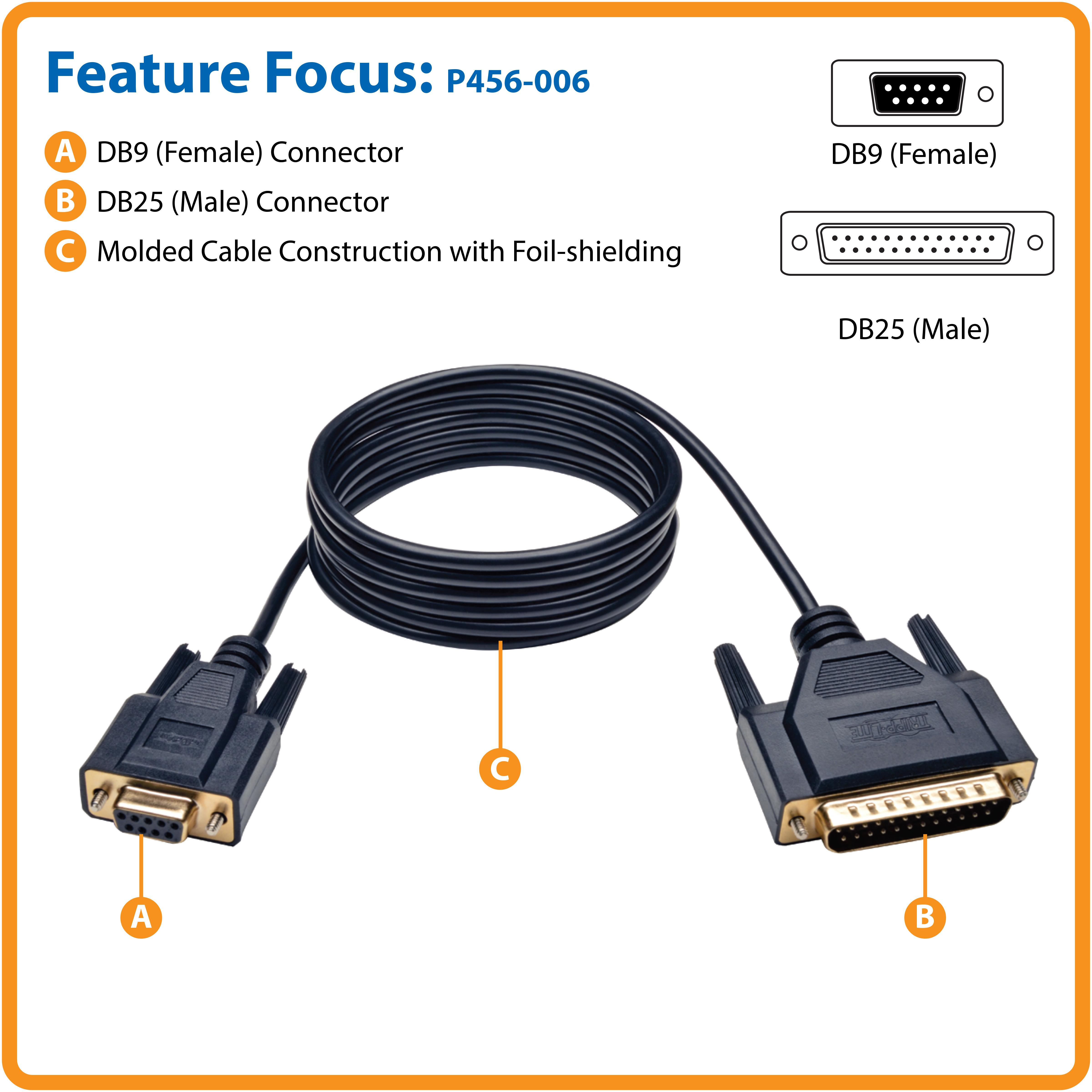 6Ft DB9 FEMALE to DB9 FEMALE NULL MODEM Cable