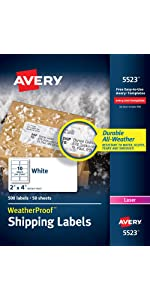 Avery Weatherproof shipping labels