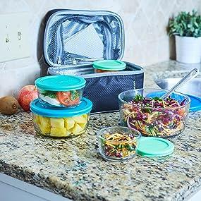 anchor hocking; glass; glassware; food storage; plastic lids; round; blue lids