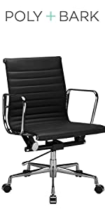 Ribbed Office Chair with Italian Leather