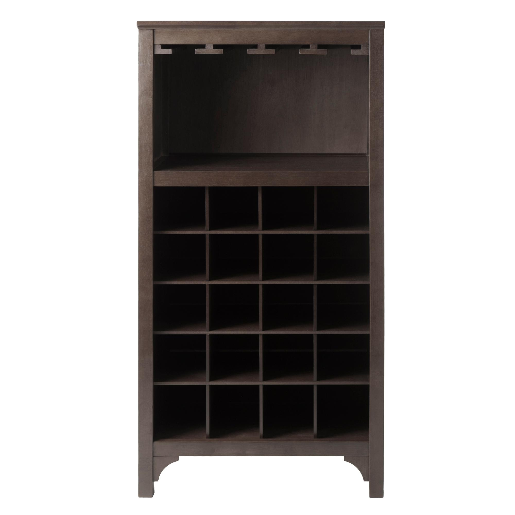 Winsome ancona wine cabinet with glass rack for 16 bottle wine cabinet with glass door espresso