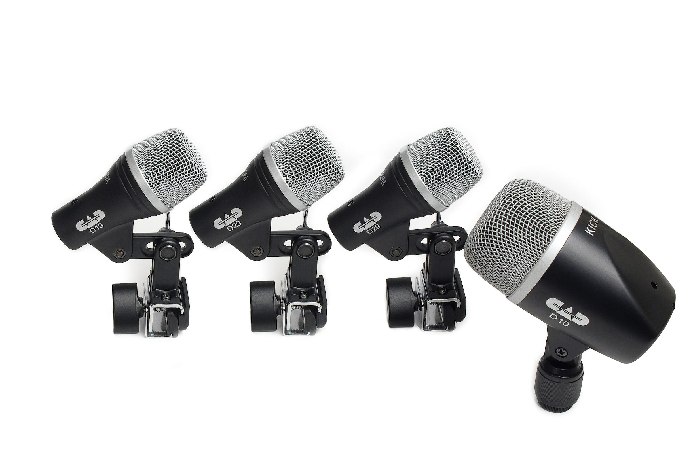 cad audio stage4 4 piece drum mic pack includes kick mic snare mic and 2 tom mics. Black Bedroom Furniture Sets. Home Design Ideas