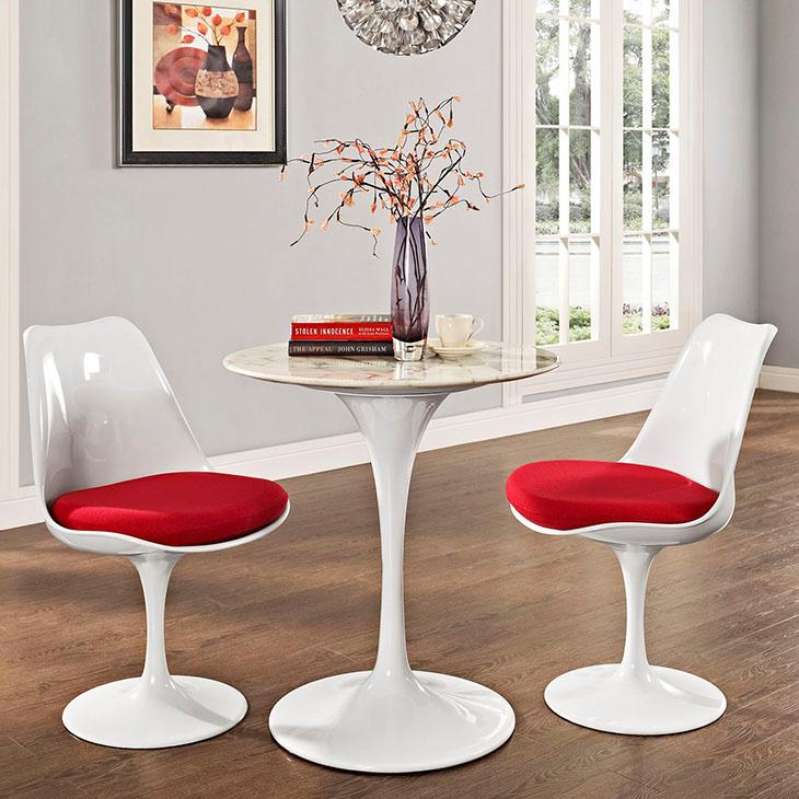 Amazoncom Modway Lippa Round Faux Marble Top Dining Table In - Tulip pedestal dining table