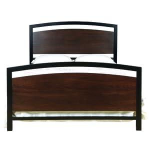 bello b594qmb metal bed frame queen cocoa wood with black metal finish framing - Black Metal Bed Frame Queen