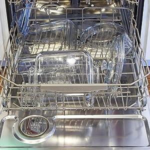 anchor hocking; glass; bakeware; tote; easy transport; dishes; storage; store; dishwasher safe
