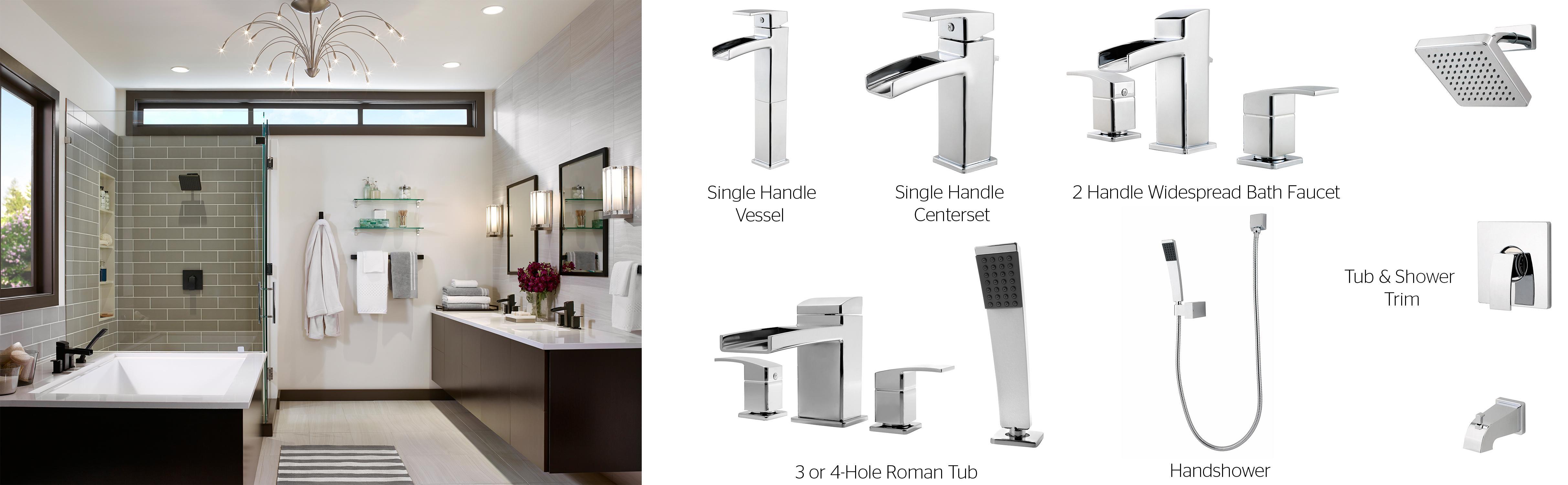 Pfister Kenzo Wall Mount 2-Handle Bathroom Faucet in Brushed Nickel GT49-DF1K