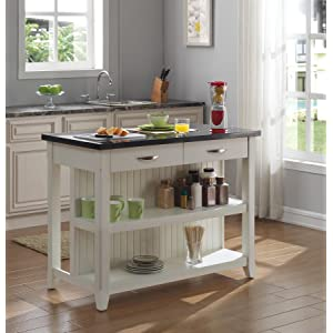 Bellu0027O KI10275 48 T401 The Server Kitchen Island With Granite Top,